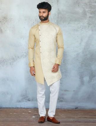 Yellow hue thread decorated kurta with chudidar