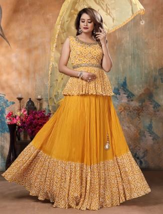 Yellow hue wonderful georgette floor length lehenga suit
