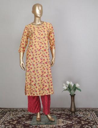 Yellow innovative cotton punjabi style festive wear pant suit