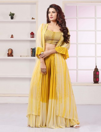 Yellow jacket style palazzo suit in gerogette for wedding sessions