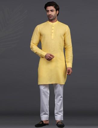 Yellow linen full sleeeves kurta suit