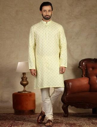 Yellow linen kurta suit festive wear