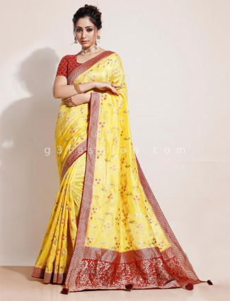 Yellow muga silk wedding days saree