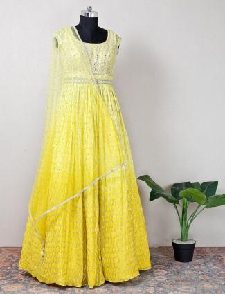 yellow net wedding wear anarkali suit