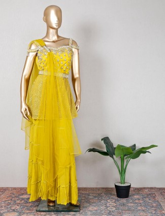 Yellow net wedding wear sharara suit