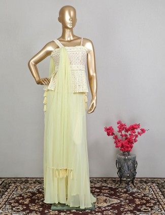 Yellow palazzo suit for wedding in georgette