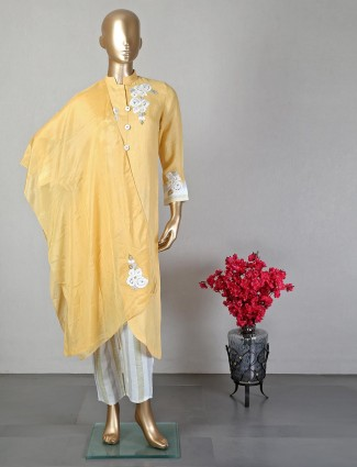 Yellow pant style salwar suit for festive