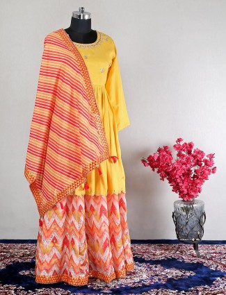 Yellow party wear lehenga style salwar kameez