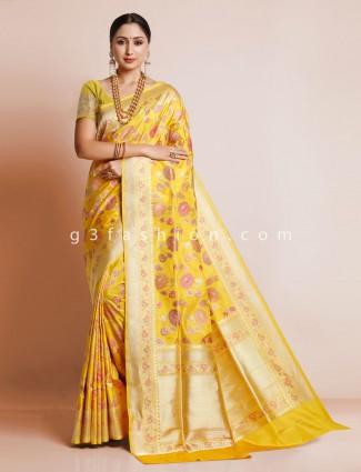 Yellow patola silk for wedding look