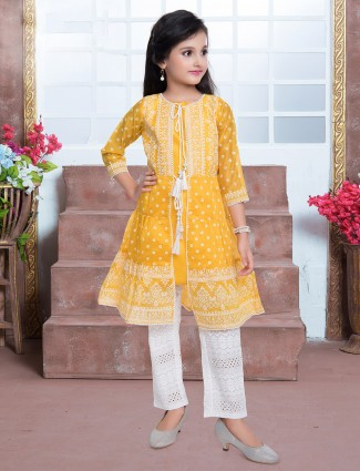 Yellow print inflated pant suit for little girls