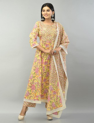 Yellow printed cotton pant suit for women