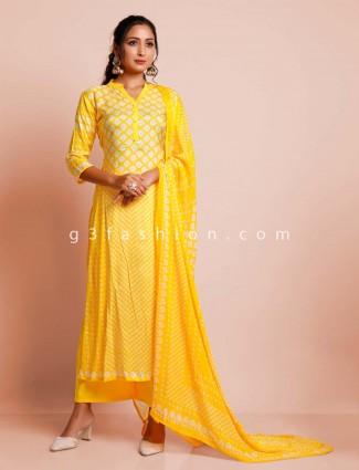 Yellow printed cotton salwar kameez for festivals