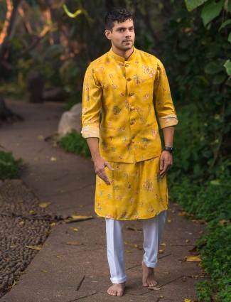 Yellow printed cotton silk designer waistcoat set for mens