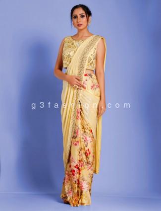Half and half yellow digital satin printed redy to wear saree