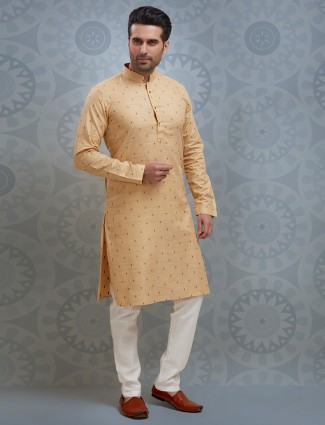 Yellow printed kurta suit for festivals in cotton