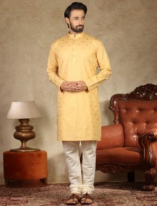 Yellow printed linen festive wear kurta suit