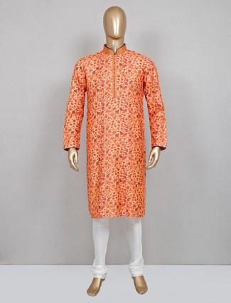 Yellow printed silk kurta suit festive wear