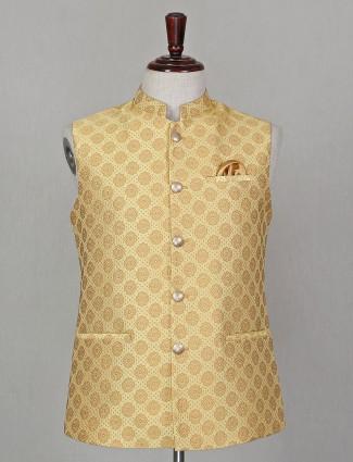 Yellow printed welt pocket waistcoat