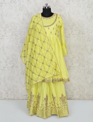 Yellow punjabi lehenga suit in cotton