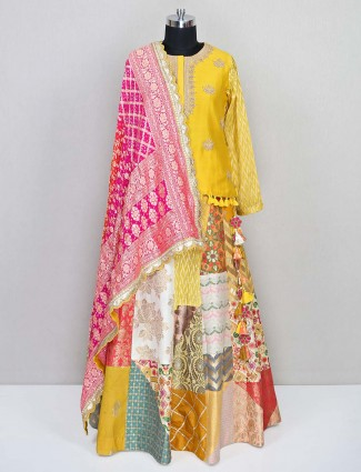 Yellow raw silk designer salwar suit