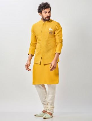 Yellow raw silk mens haldi special waistcoat set