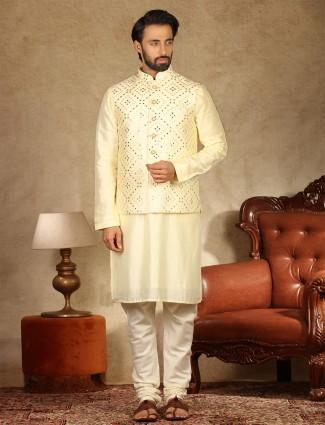 Yellow raw silk mens waistcoat set for parties