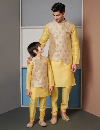 Yellow raw silk waistcoat set for father and son