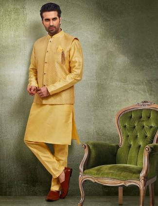 Yellow raw silk waistcoat set party wear