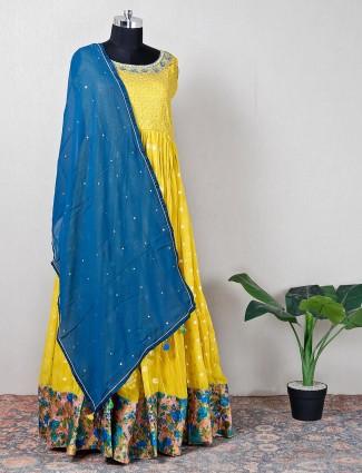 Yellow raw silk wedding anarkali suit
