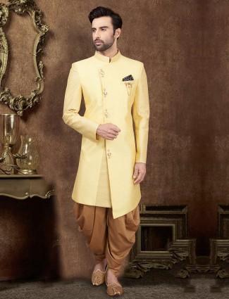 Yellow raw silk wedding indo western