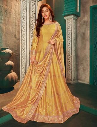 Yellow raw silk wedding pretty anarkali salwar suit for women