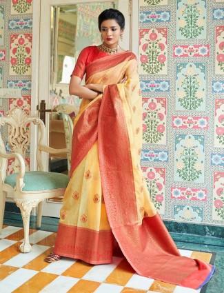 Yellow saree design in cotton linen for festive