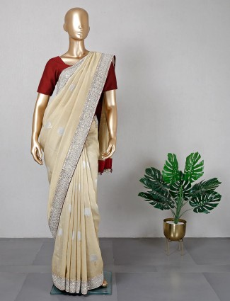 Beige satin silk festive wear saree for women