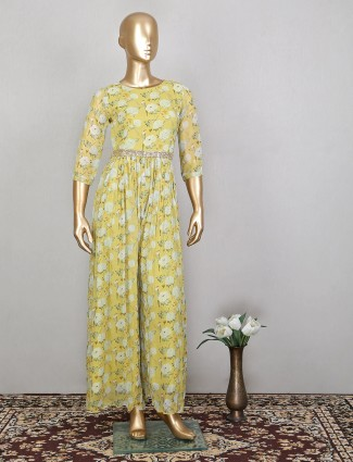 Yellow shade printed jumpsuit in georgette