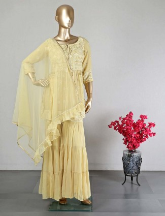 Yellow sharara suit for women in georgette