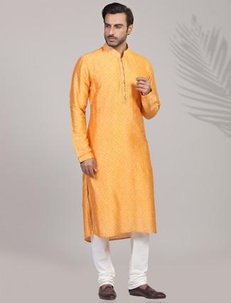 Yellow silk bandhej printed kurta suit