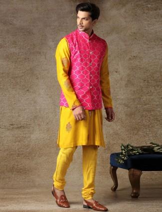 Yellow silk mens haldi special waistcoat set
