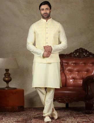 Yellow silk mens special for haldi waistcoat set