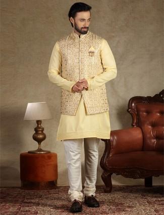 Yellow silk mens waistcoat set for parties