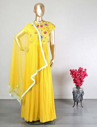 yellow silk palazzo suit for wedding