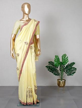 Yellow silk saree for festive