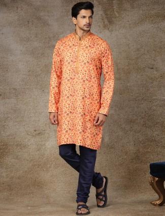 Yellow silk stand collar printed kurta suit