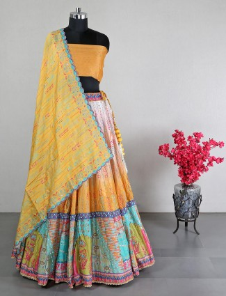 Yellow silk unstitched wedding wear lehenga choli