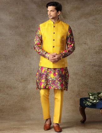 Yellow silk waistcoat set for haldi occasion