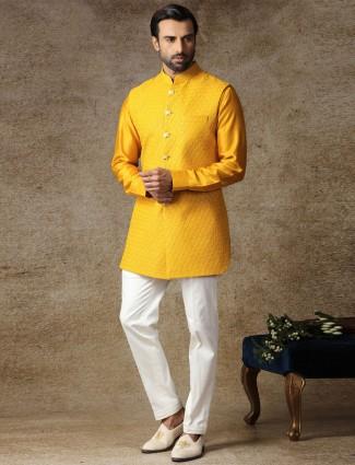 Yellow silk waistcoat set special haldi collection