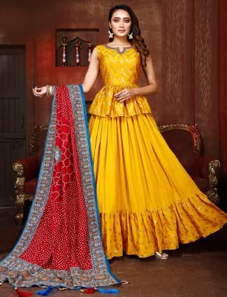 Yellow silk wedding ceremony lehenga choli