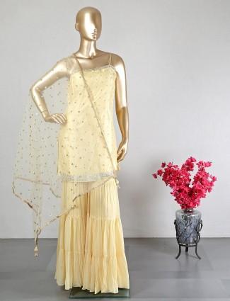 Yellow silk wedding wear sharara suit
