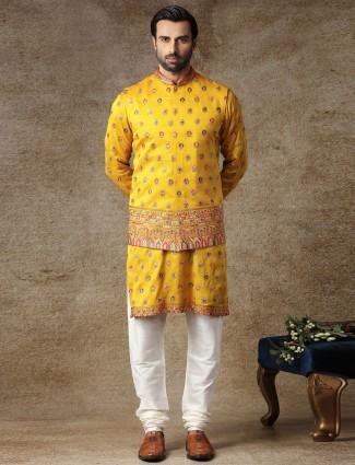 Yellow silk with thread work mens waistcoat set