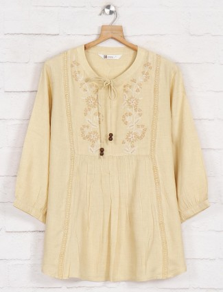 Yellow solid cotton top for casual outings