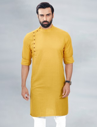 Yellow solid style cotton kurta for mens